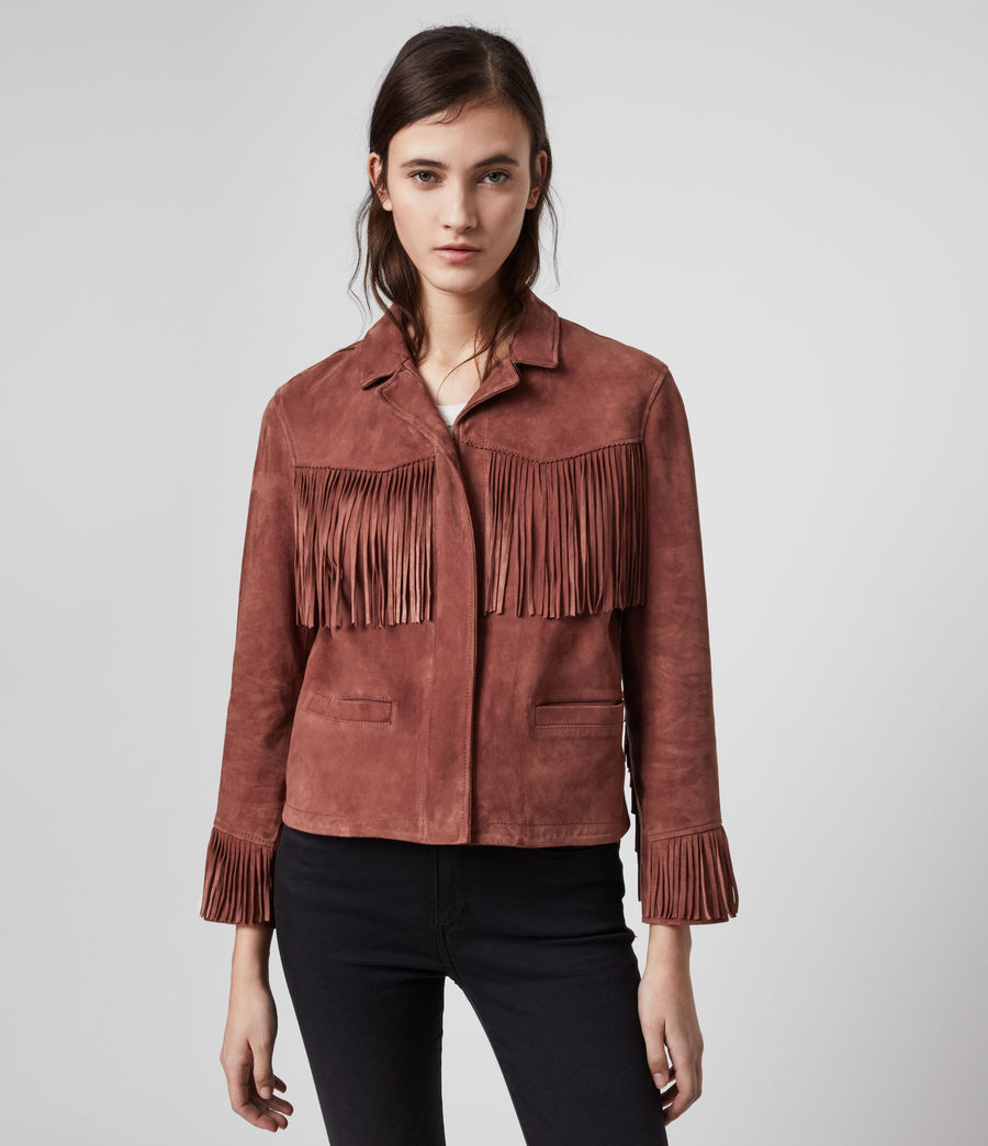 Women's Mina Suede Tassel Jacket (deep_cherry) - Image 4