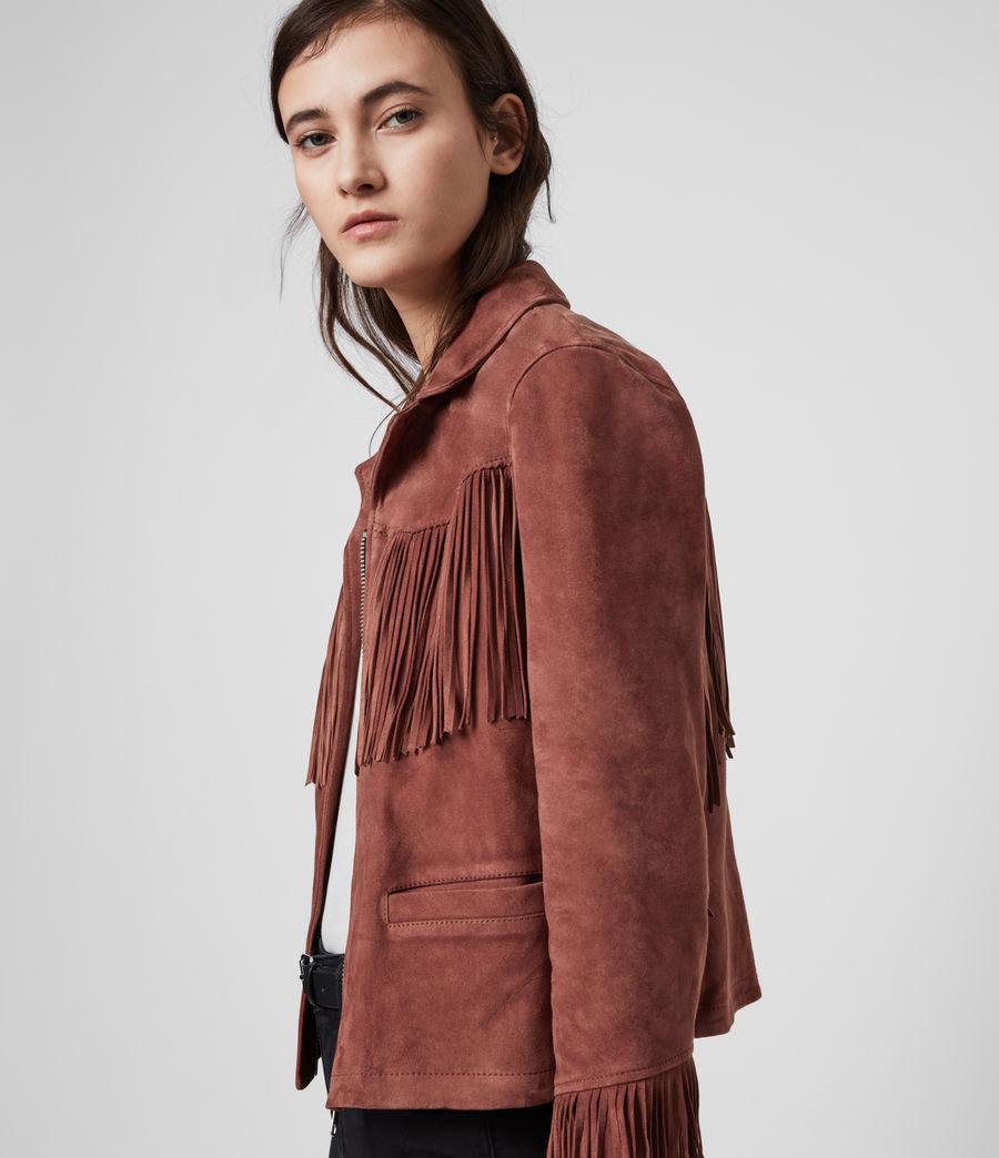 Women's Mina Suede Tassel Jacket (deep_cherry) - Image 5