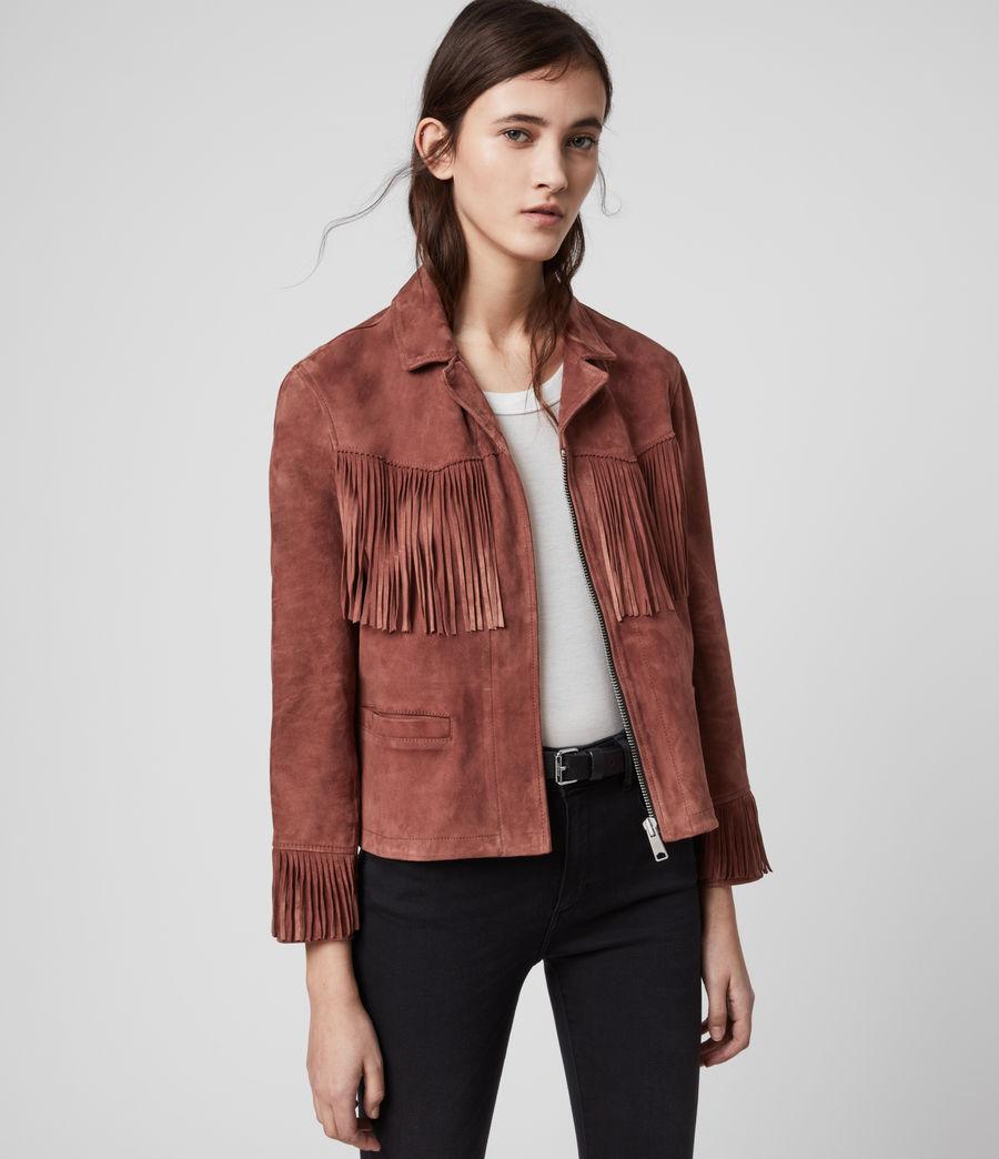 Women's Mina Suede Tassel Jacket (deep_cherry) - Image 6