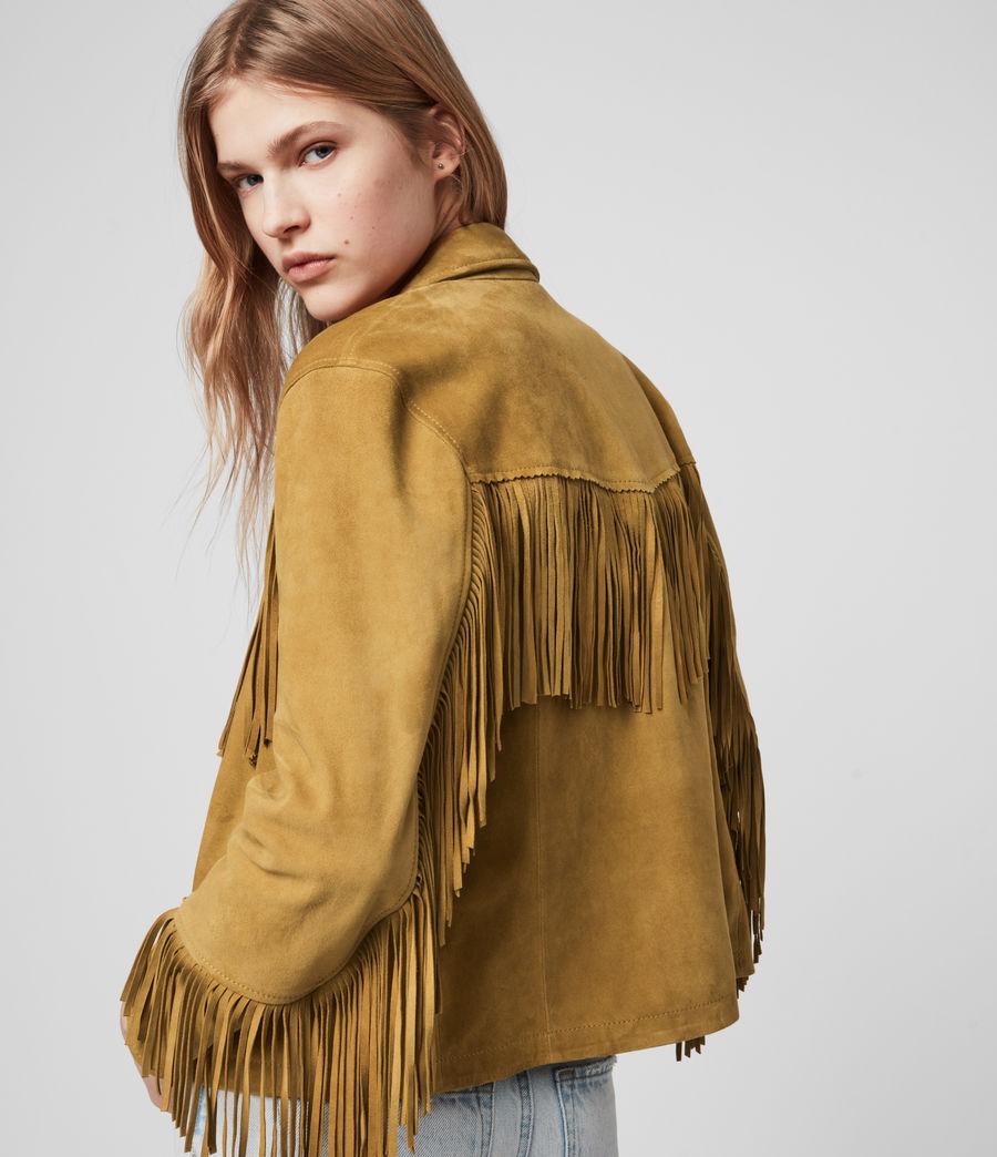 Womens Mina Suede Tassel Jacket (mustard_yellow) - Image 1