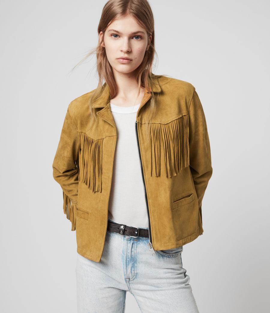 Womens Mina Suede Tassel Jacket (mustard_yellow) - Image 2