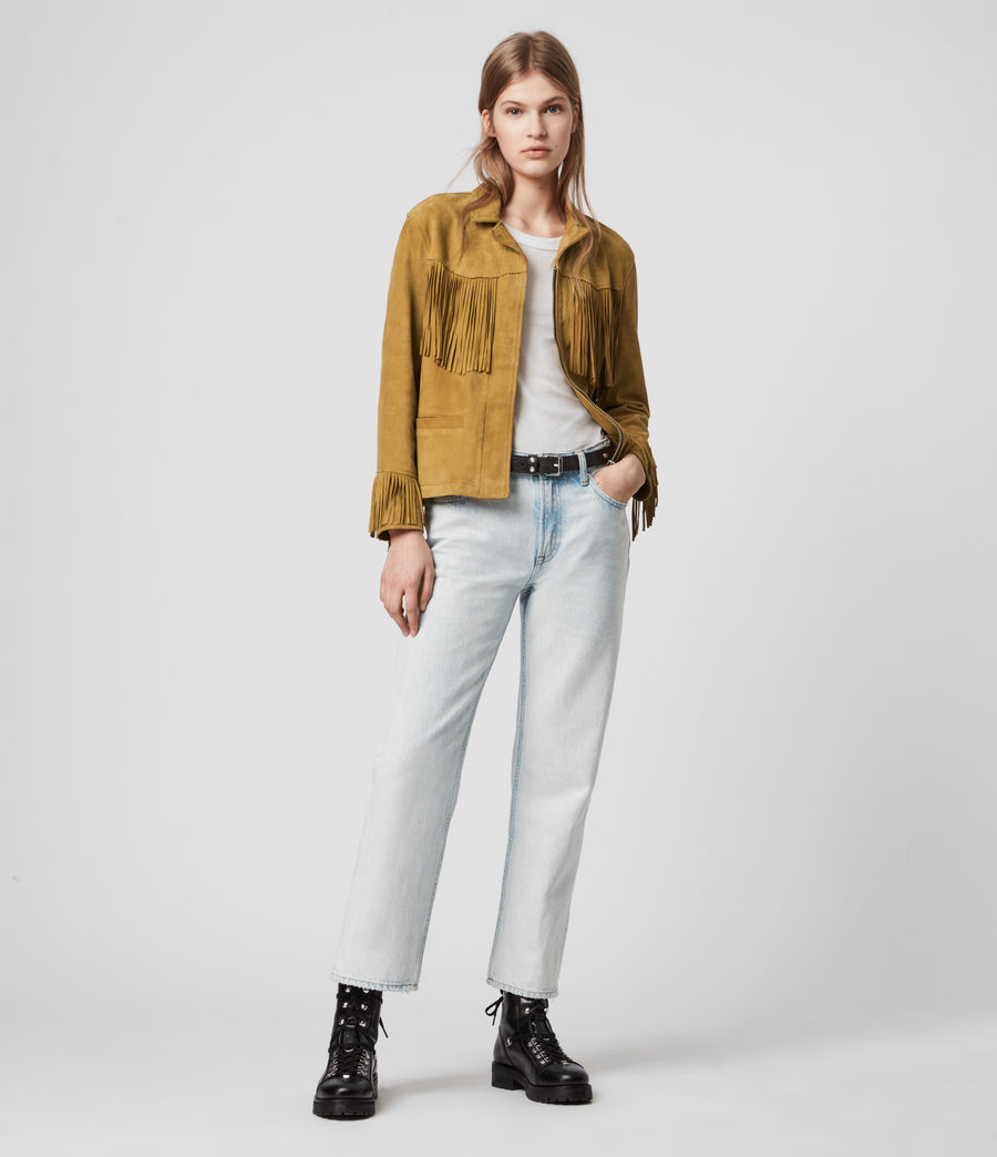Womens Mina Suede Tassel Jacket (mustard_yellow) - Image 3