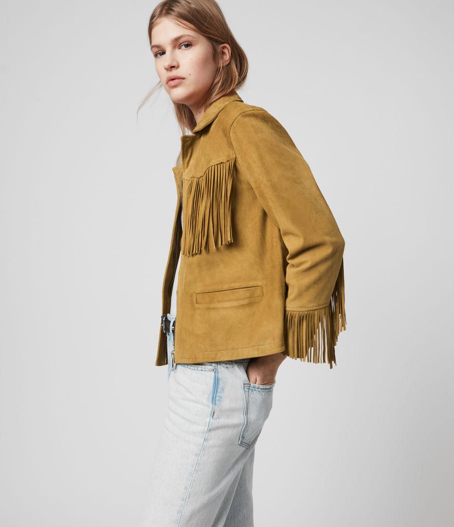 Womens Mina Suede Tassel Jacket (mustard_yellow) - Image 4
