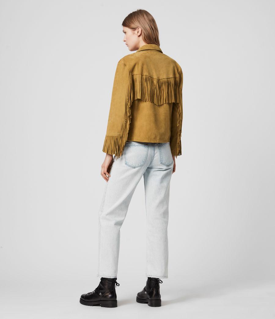 Womens Mina Suede Tassel Jacket (mustard_yellow) - Image 5