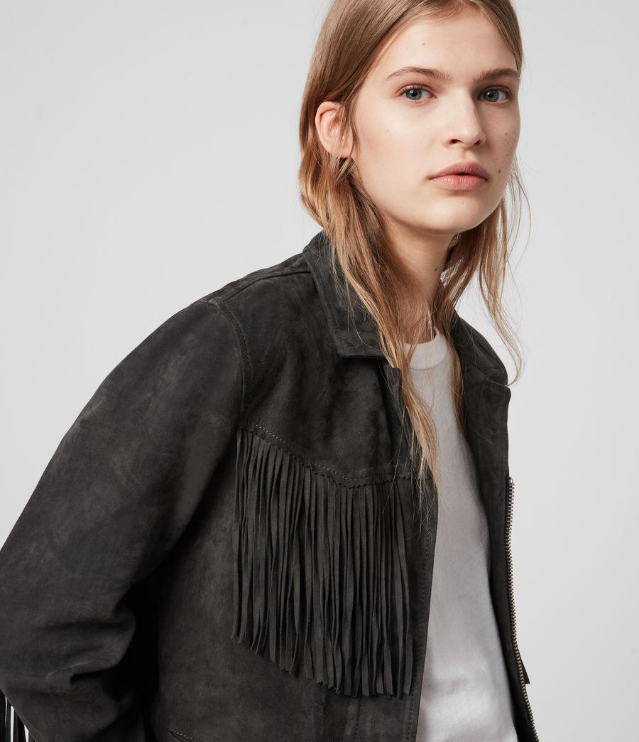 Women's Mina Suede Tassel Jacket (black) - Image 2