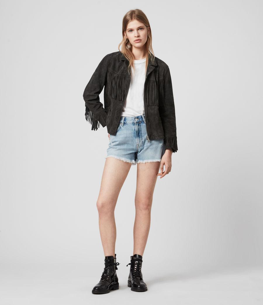 Women's Mina Suede Tassel Jacket (black) - Image 3