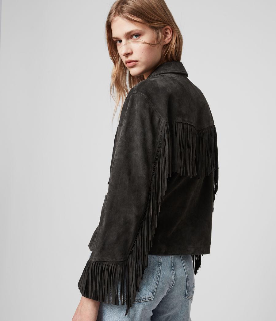 Women's Mina Suede Tassel Jacket (black) - Image 4