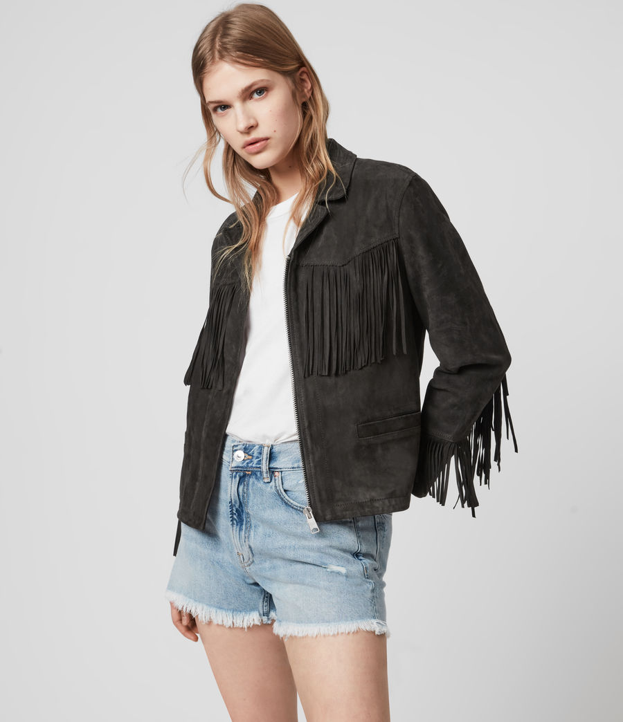 Women's Mina Suede Tassel Jacket (black) - Image 5