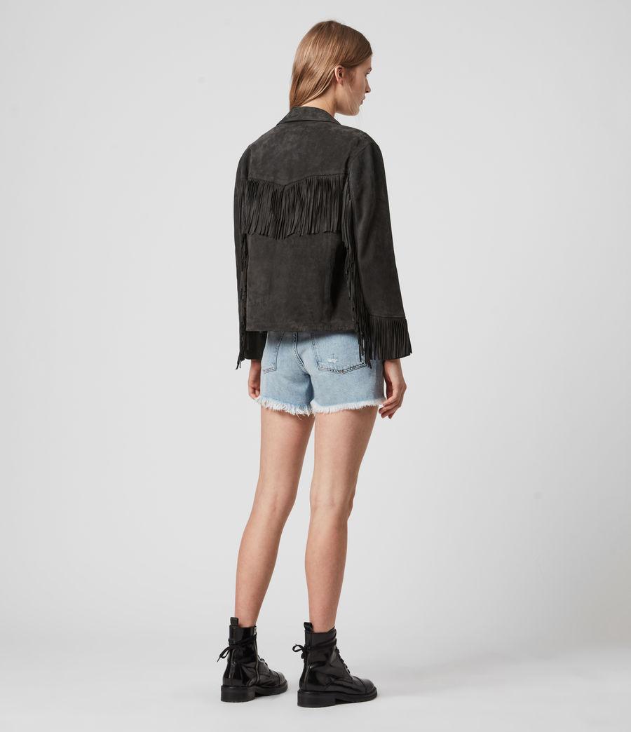 Womens Mina Suede Tassel Jacket (black) - Image 6