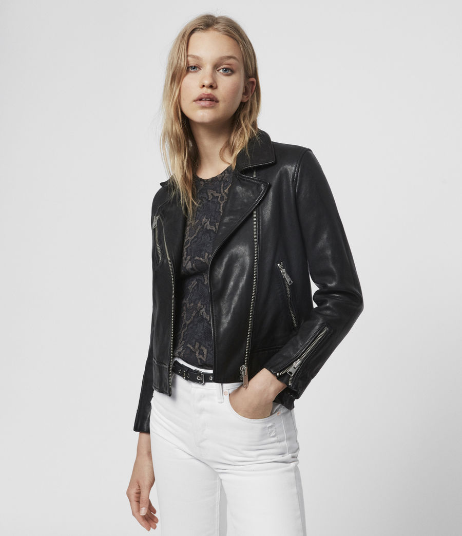 Women's Fia Leather Biker Jacket (black) - Image 1