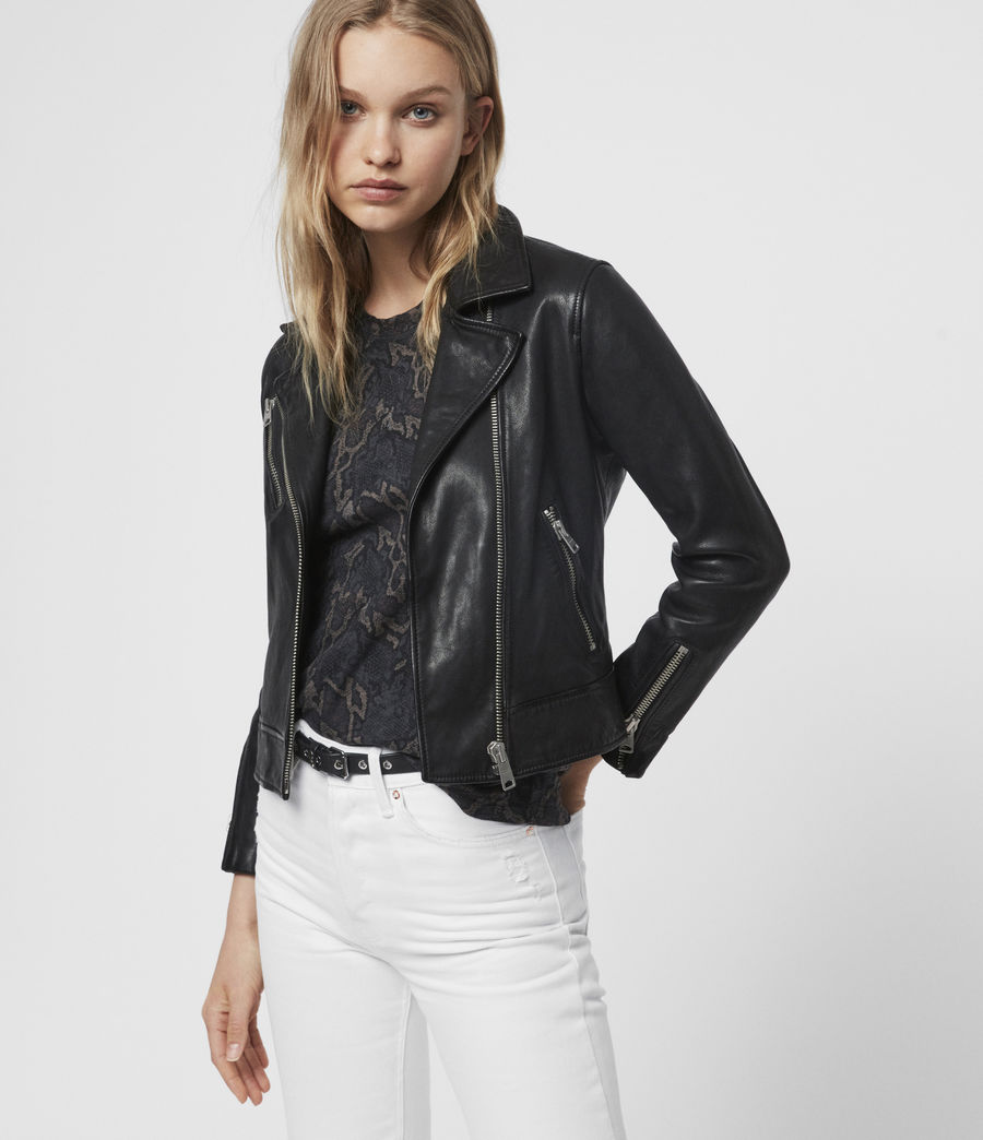 Women's Fia Leather Biker Jacket (black) - Image 3