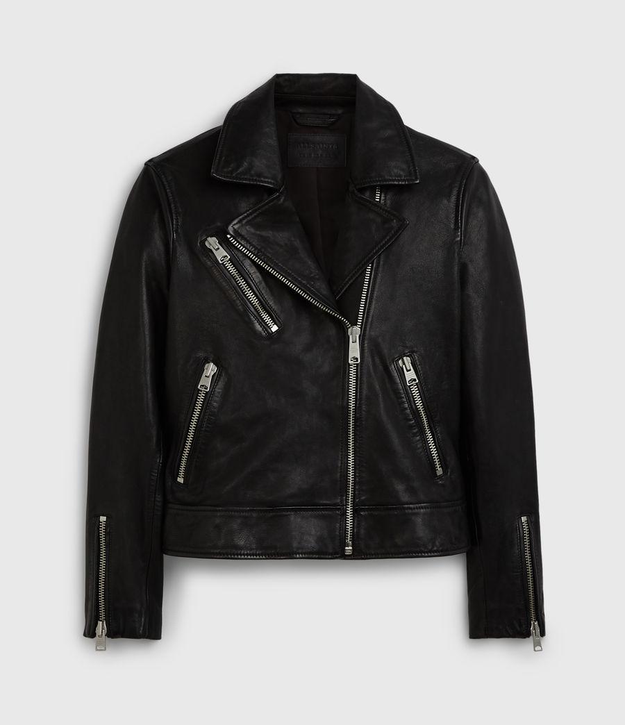Women's Fia Leather Biker Jacket (black) - Image 7