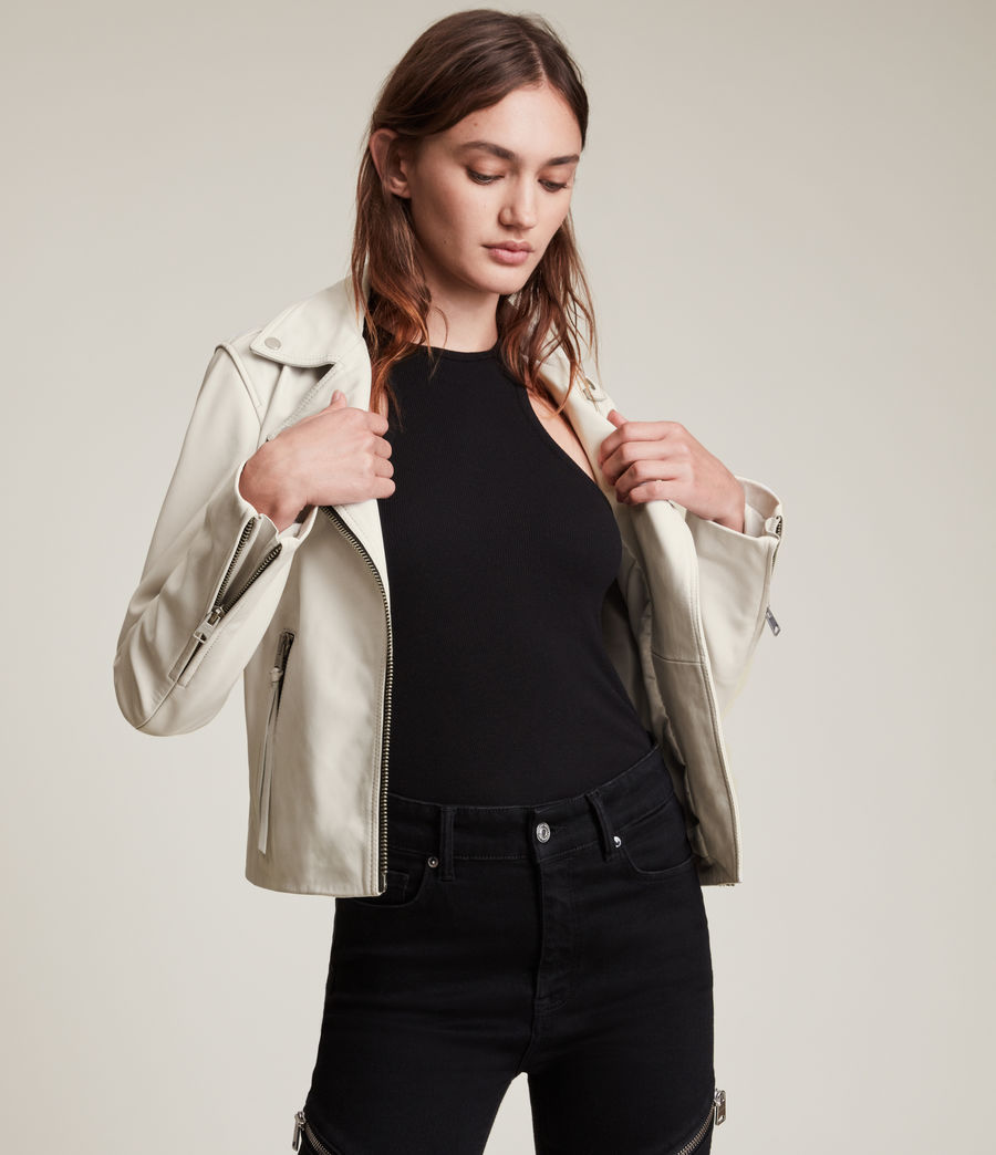 Womens Dalby Leather Biker Jacket (aries_white) - Image 1