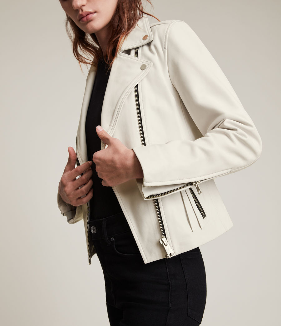 Womens Dalby Leather Biker Jacket (aries_white) - Image 2