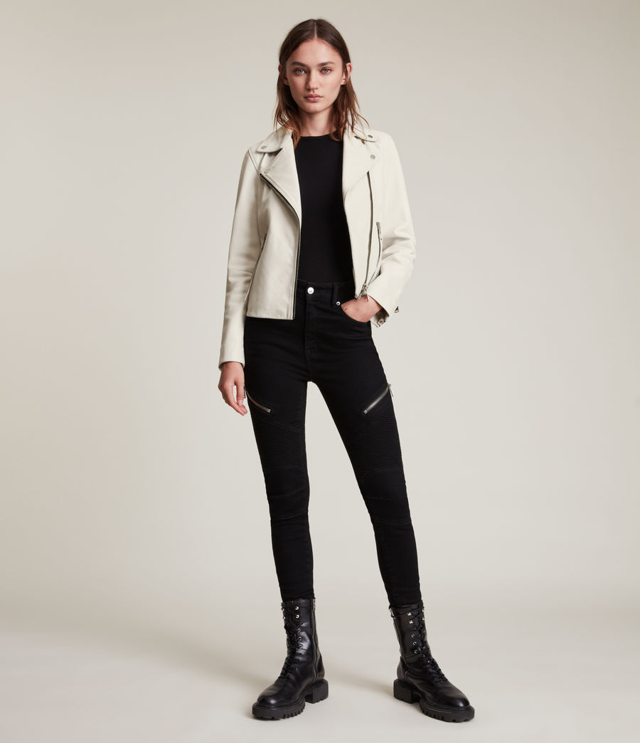 Womens Dalby Leather Biker Jacket (aries_white) - Image 3