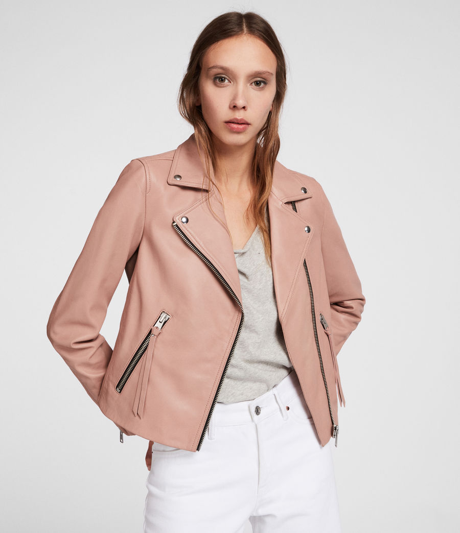 Womens Dalby Leather Biker Jacket (blush_pink) - Image 1