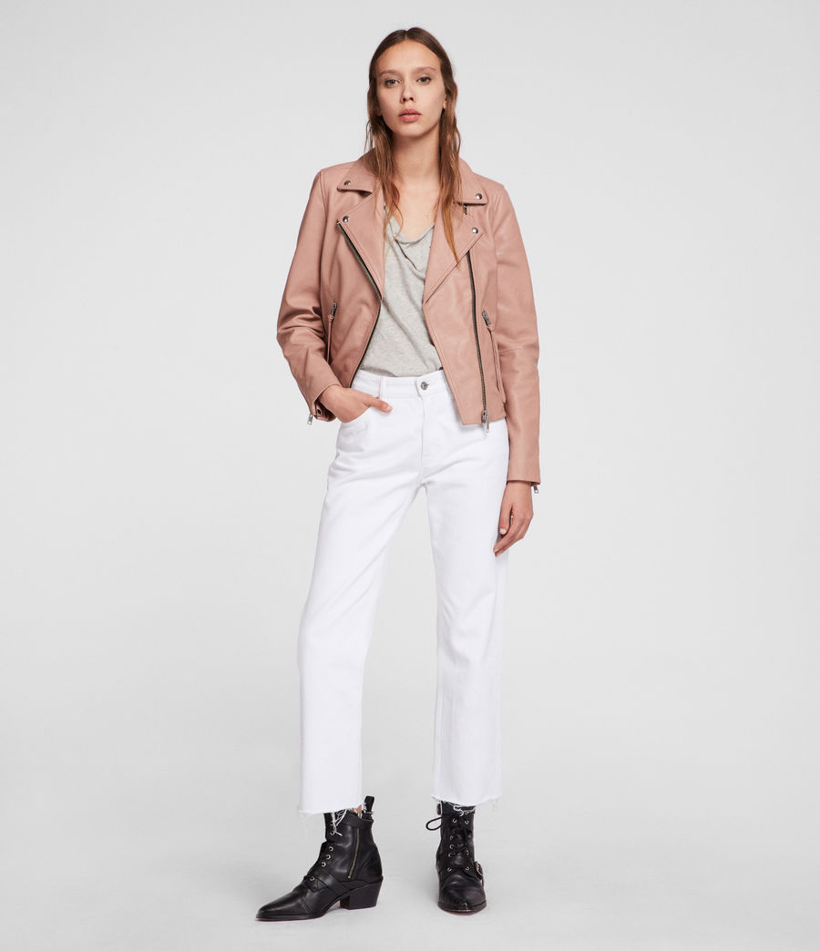 Womens Dalby Leather Biker Jacket (blush_pink) - Image 2