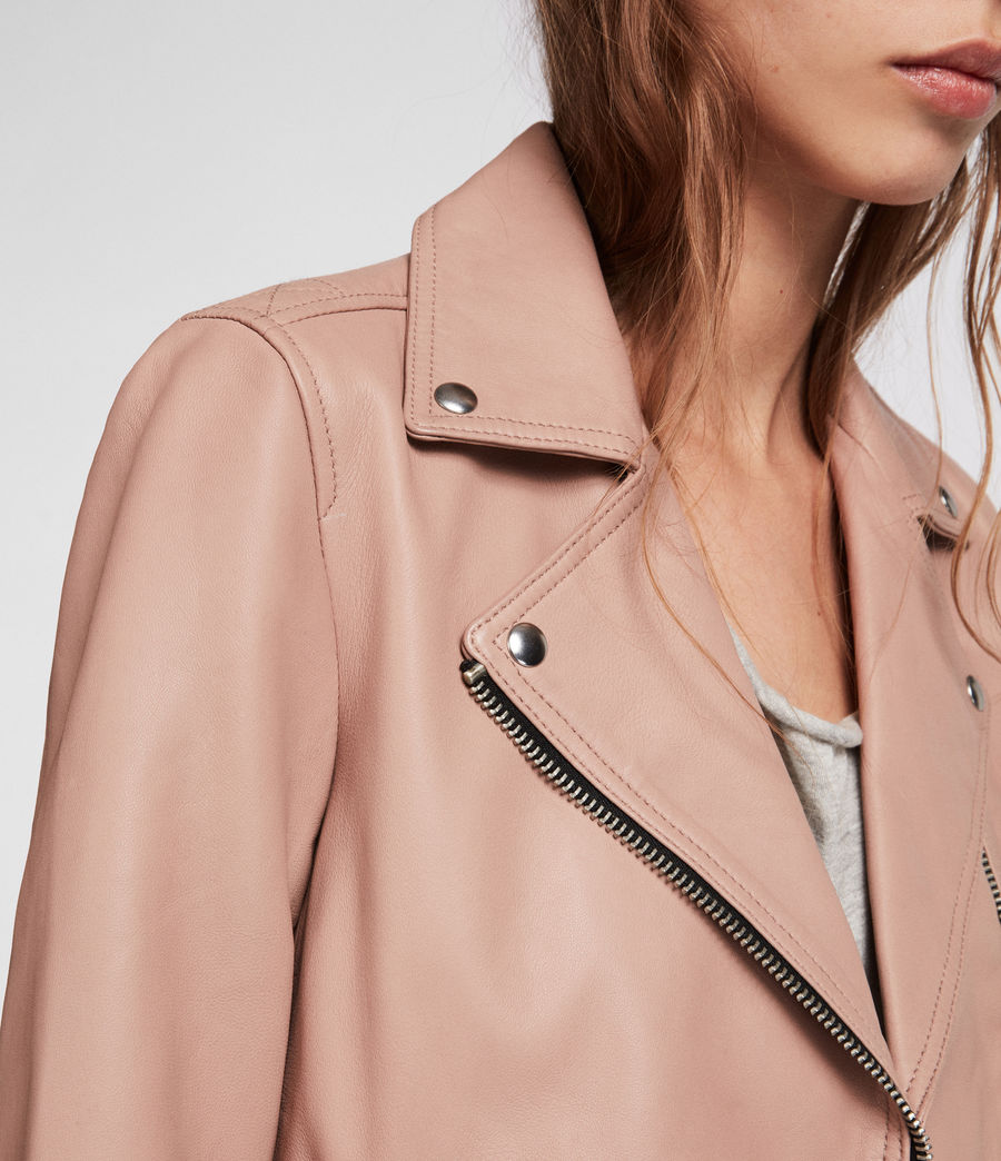 Womens Dalby Leather Biker Jacket (blush_pink) - Image 3