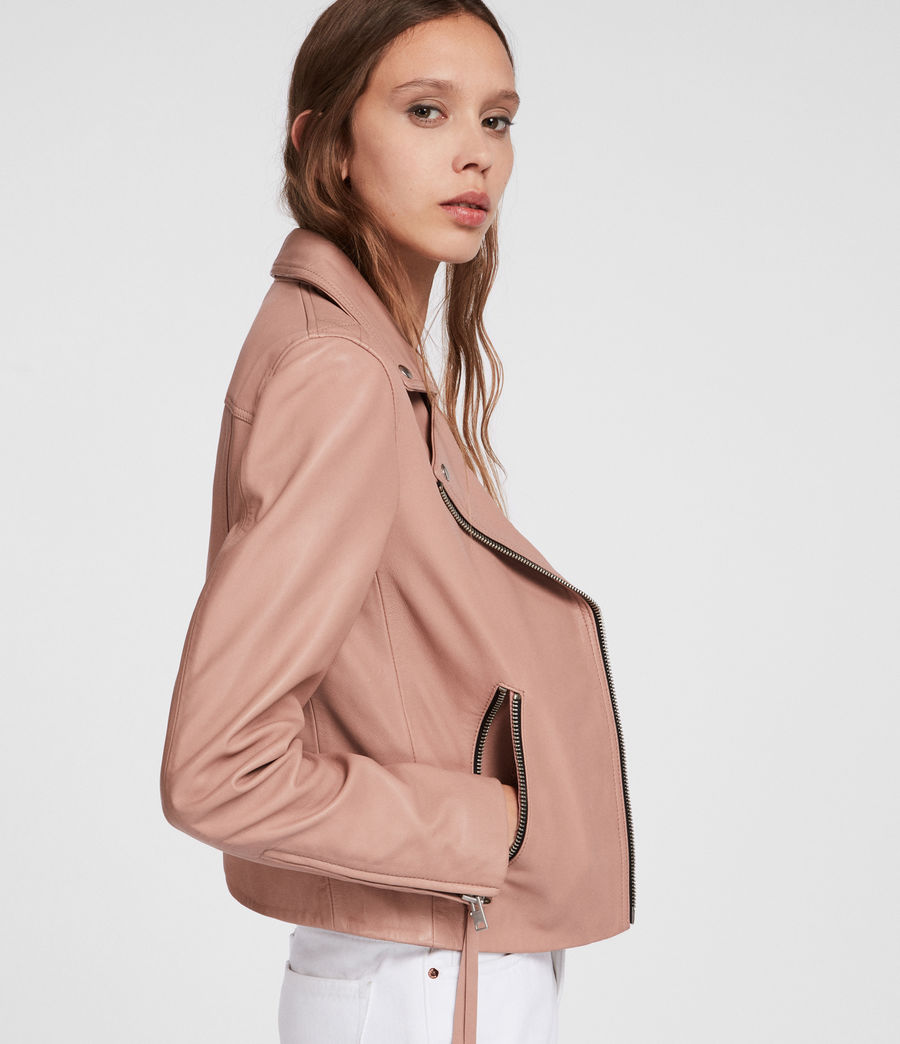 Womens Dalby Leather Biker Jacket (blush_pink) - Image 4