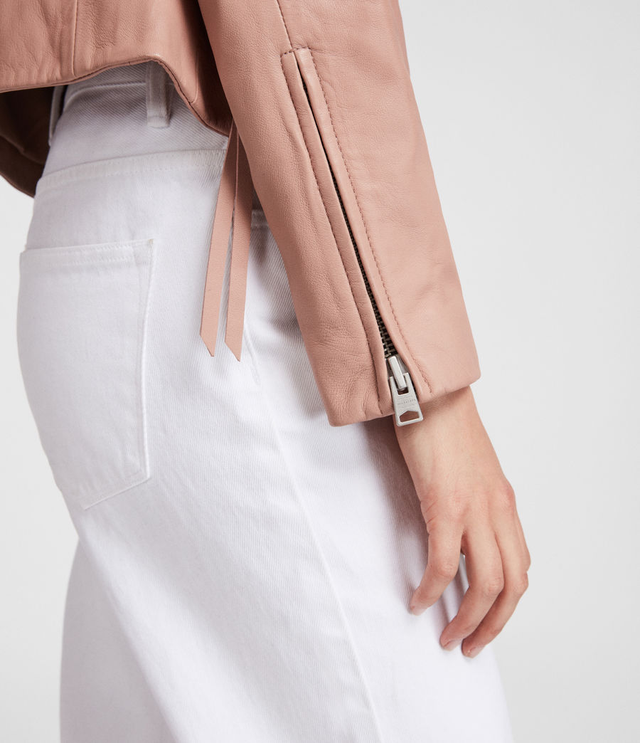 Women's Dalby Leather Biker Jacket (blush_pink) - Image 5