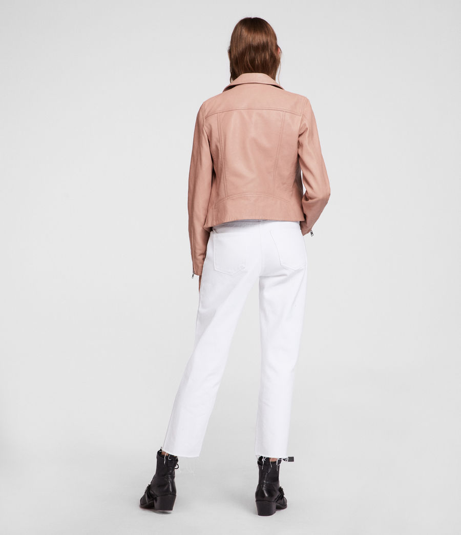 Women's Dalby Leather Biker Jacket (blush_pink) - Image 6