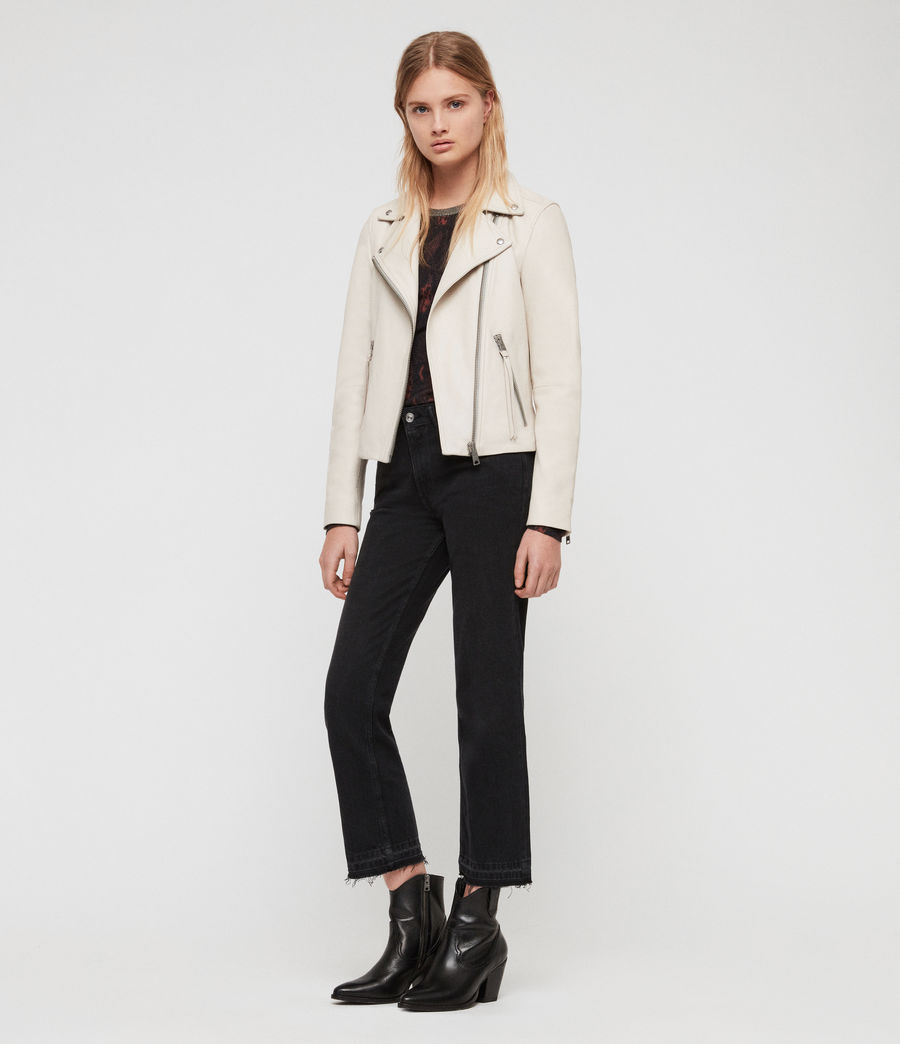 Women's Dalby Leather Biker Jacket (aries_white) - Image 1
