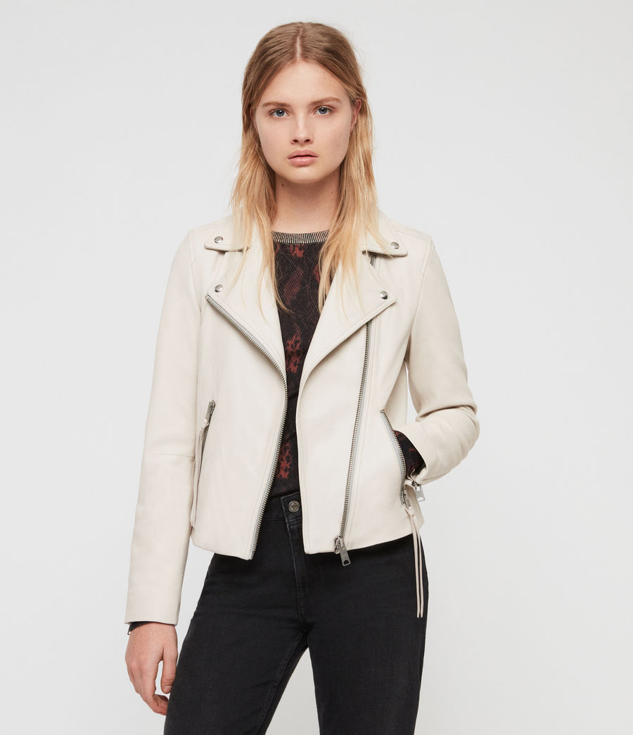 Women's Dalby Leather Biker Jacket (aries_white) - Image 2