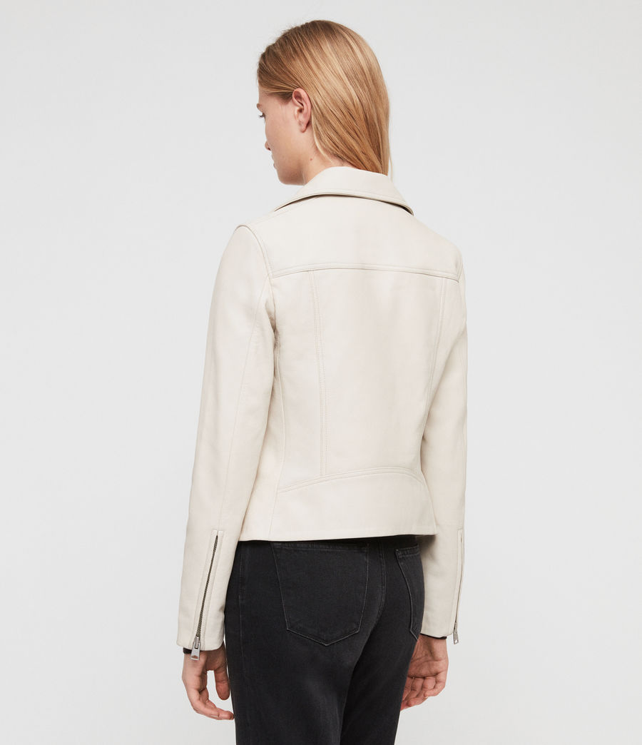 Women's Dalby Leather Biker Jacket (aries_white) - Image 5