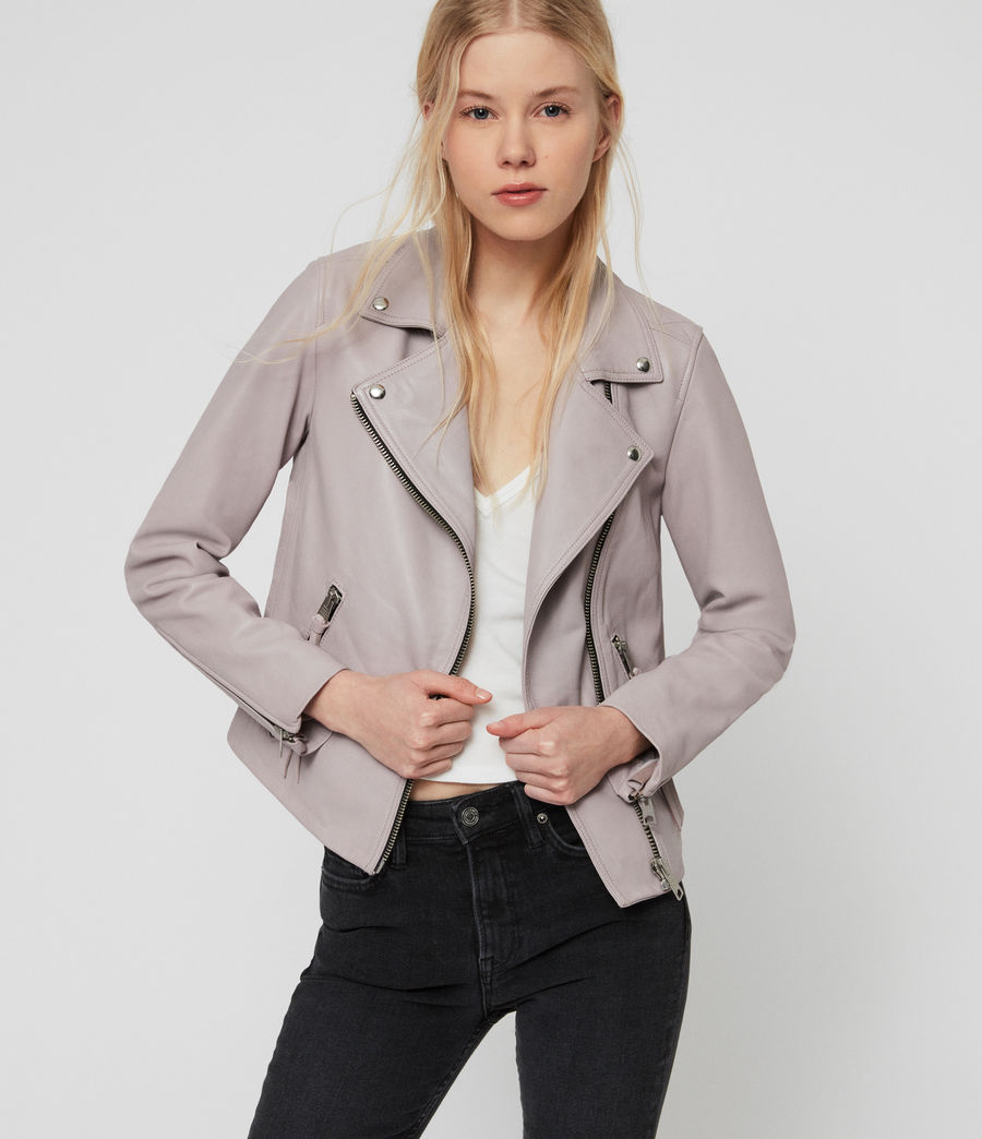 Women's Dalby Leather Biker Jacket (pale_lavender) - Image 1