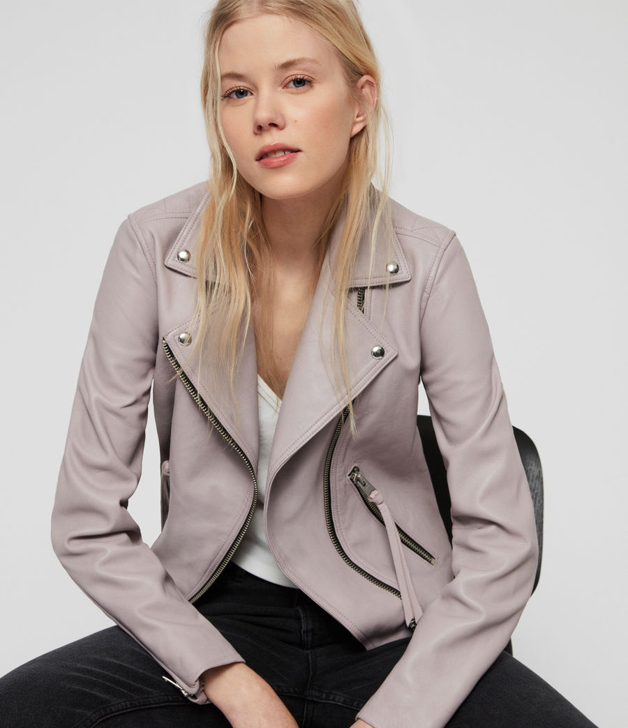 Women's Dalby Leather Biker Jacket (pale_lavender) - Image 2