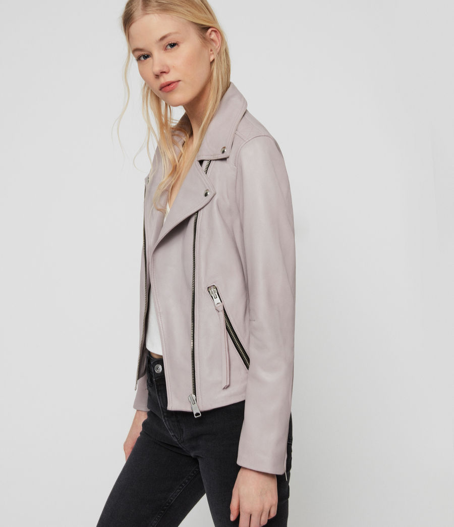 Women's Dalby Leather Biker Jacket (pale_lavender) - Image 3