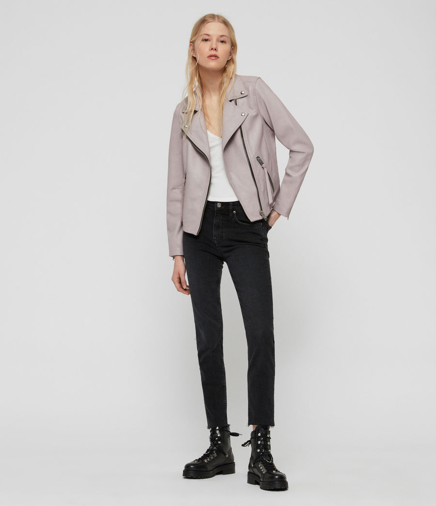 Women's Dalby Leather Biker Jacket (pale_lavender) - Image 4