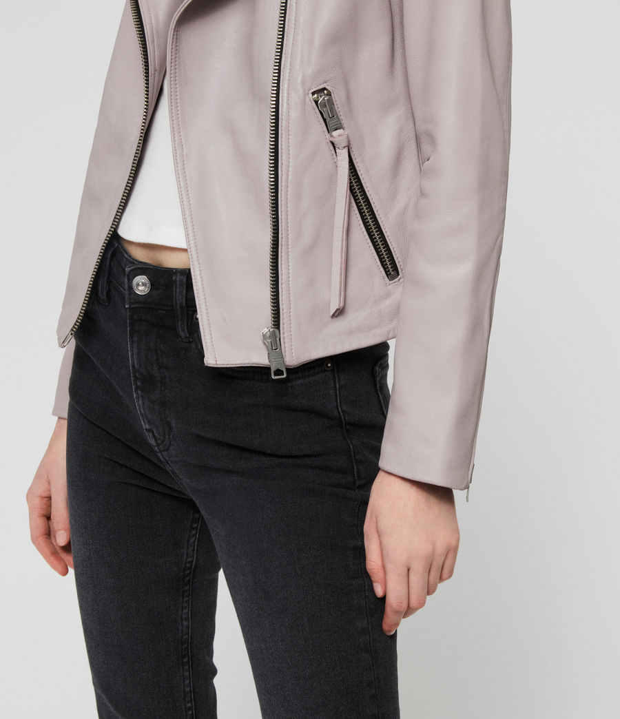 Women's Dalby Leather Biker Jacket (pale_lavender) - Image 5