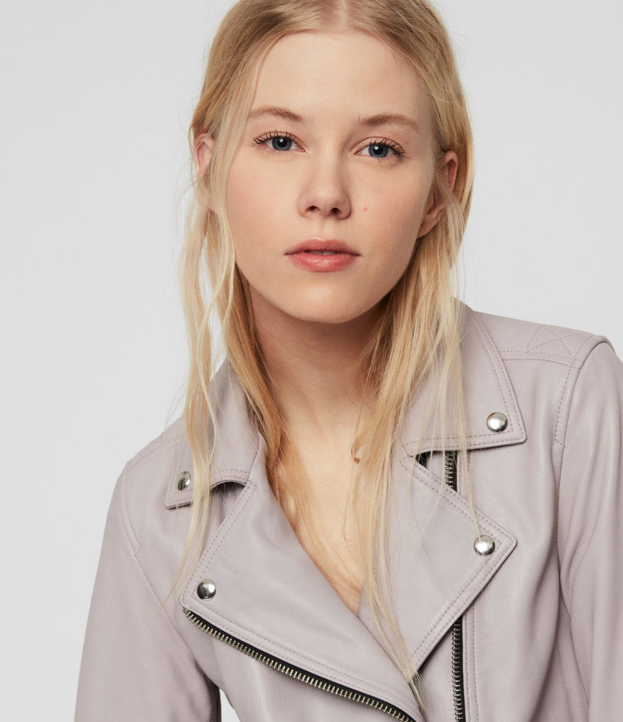 Women's Dalby Leather Biker Jacket (pale_lavender) - Image 6