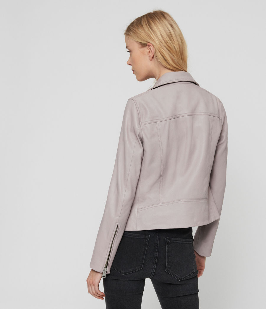 Women's Dalby Leather Biker Jacket (pale_lavender) - Image 7