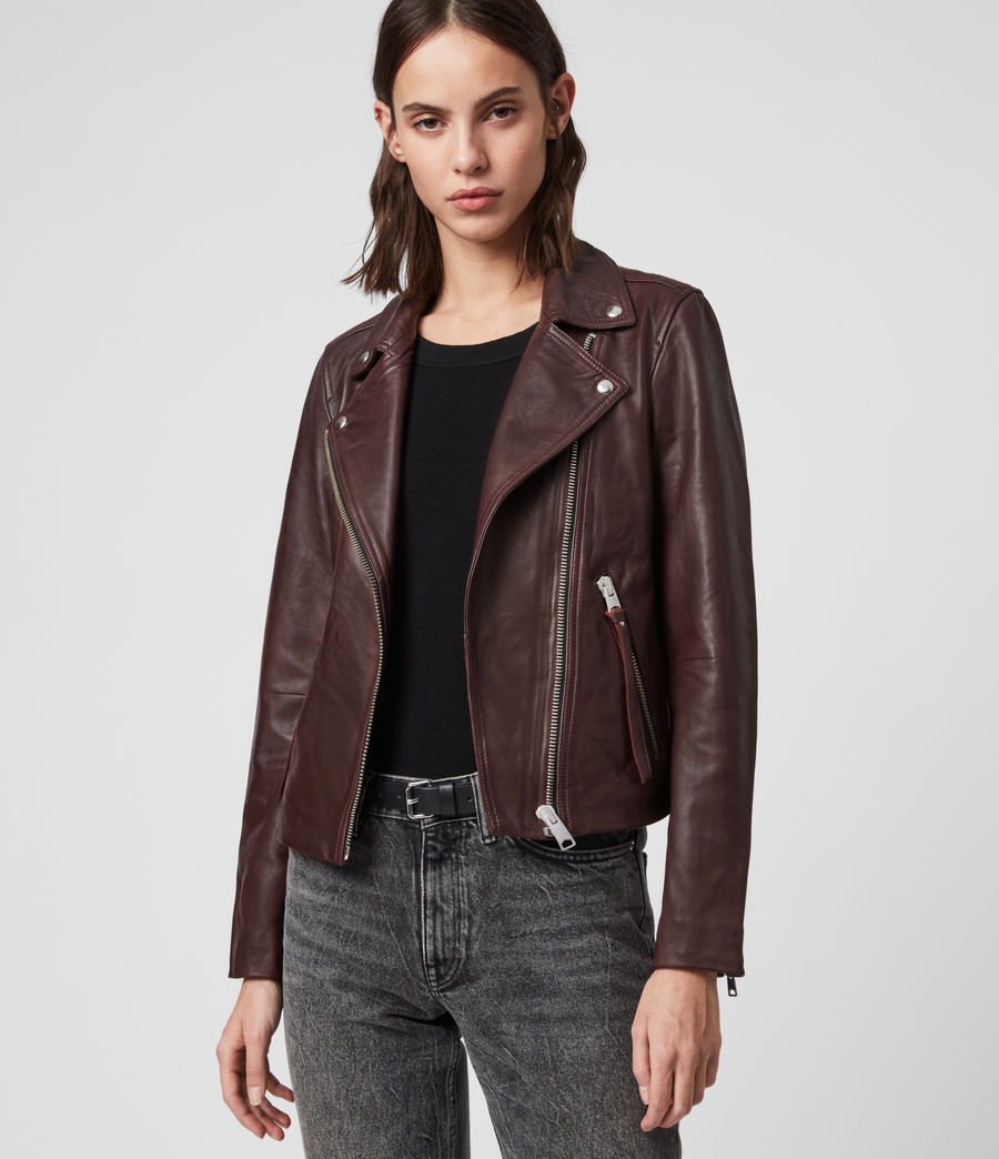 Womens Dalby Leather Biker Jacket (dk_raspberry_pink) - Image 1