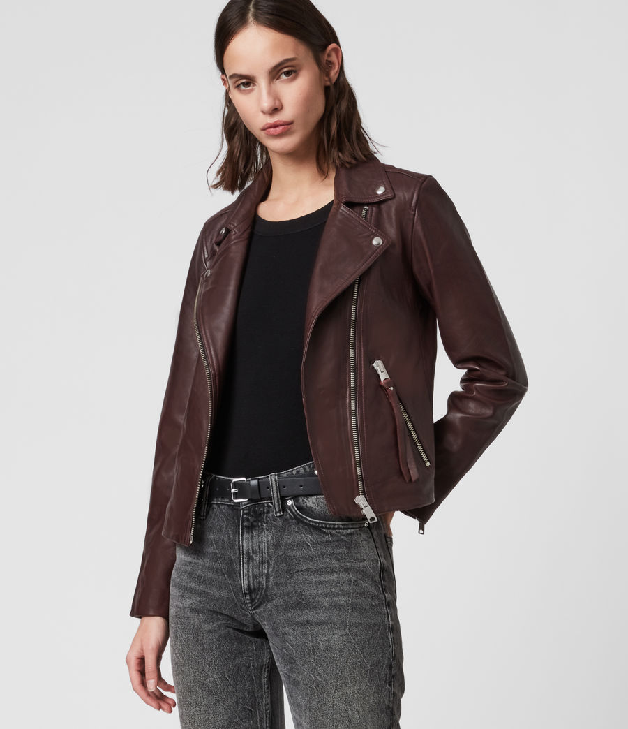 Womens Dalby Leather Biker Jacket (dk_raspberry_pink) - Image 4