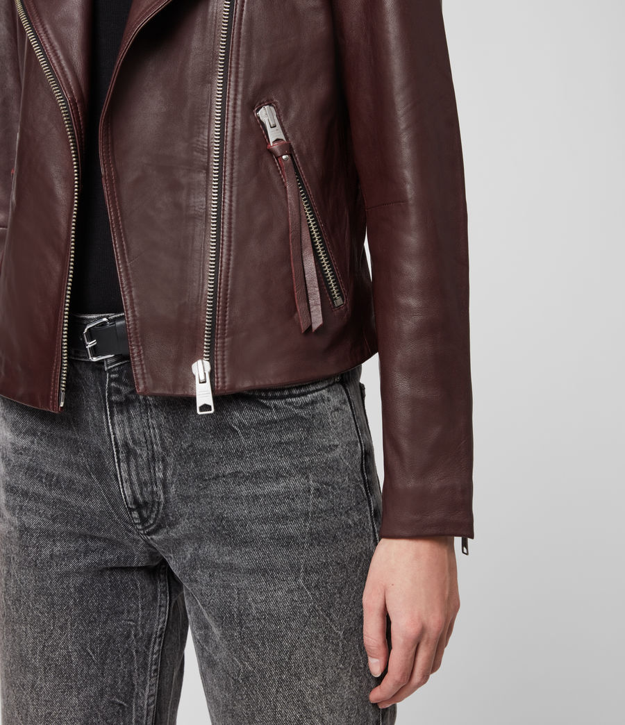 Womens Dalby Leather Biker Jacket (dk_raspberry_pink) - Image 5