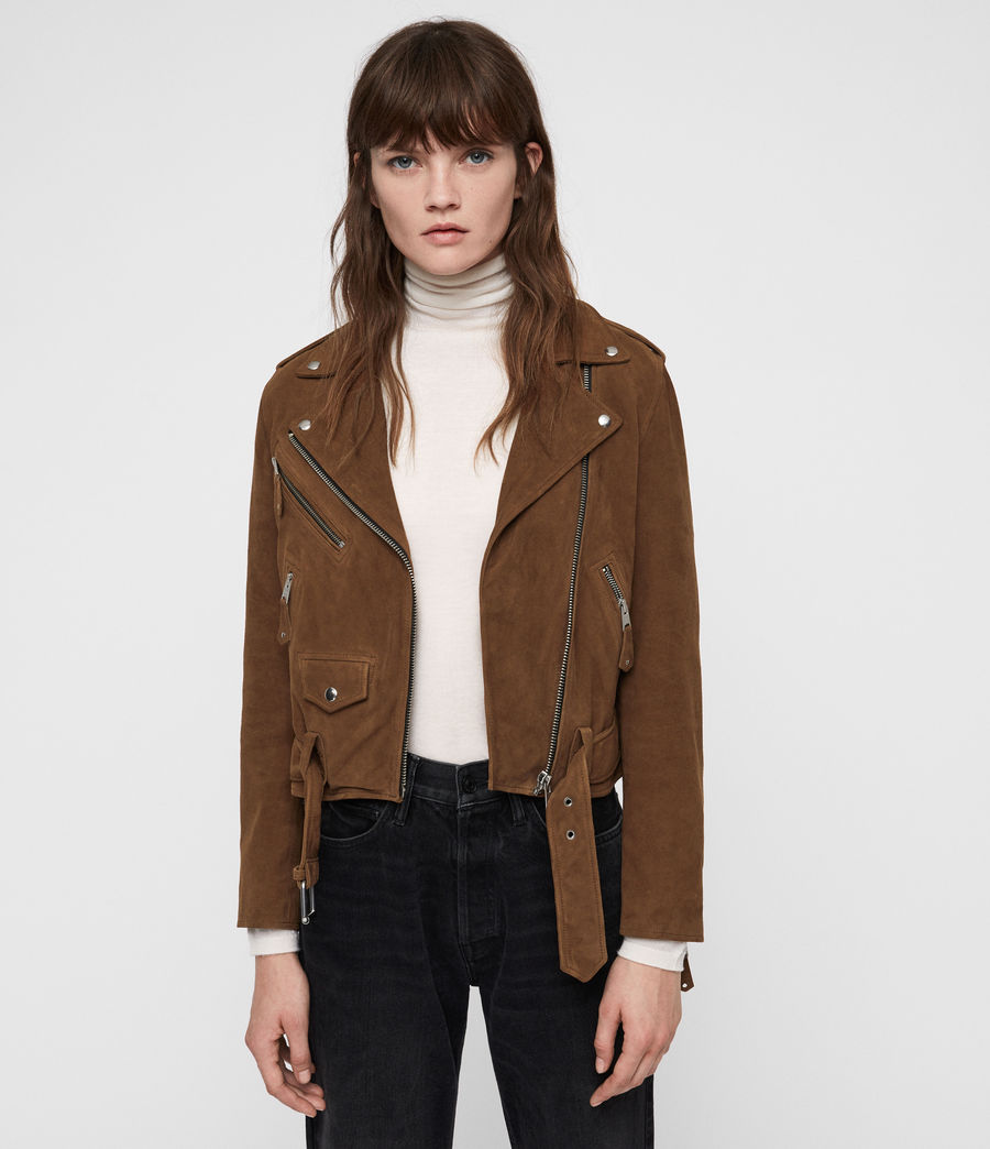 Women's Sarana Suede Biker Jacket (tan_brown) - Image 1