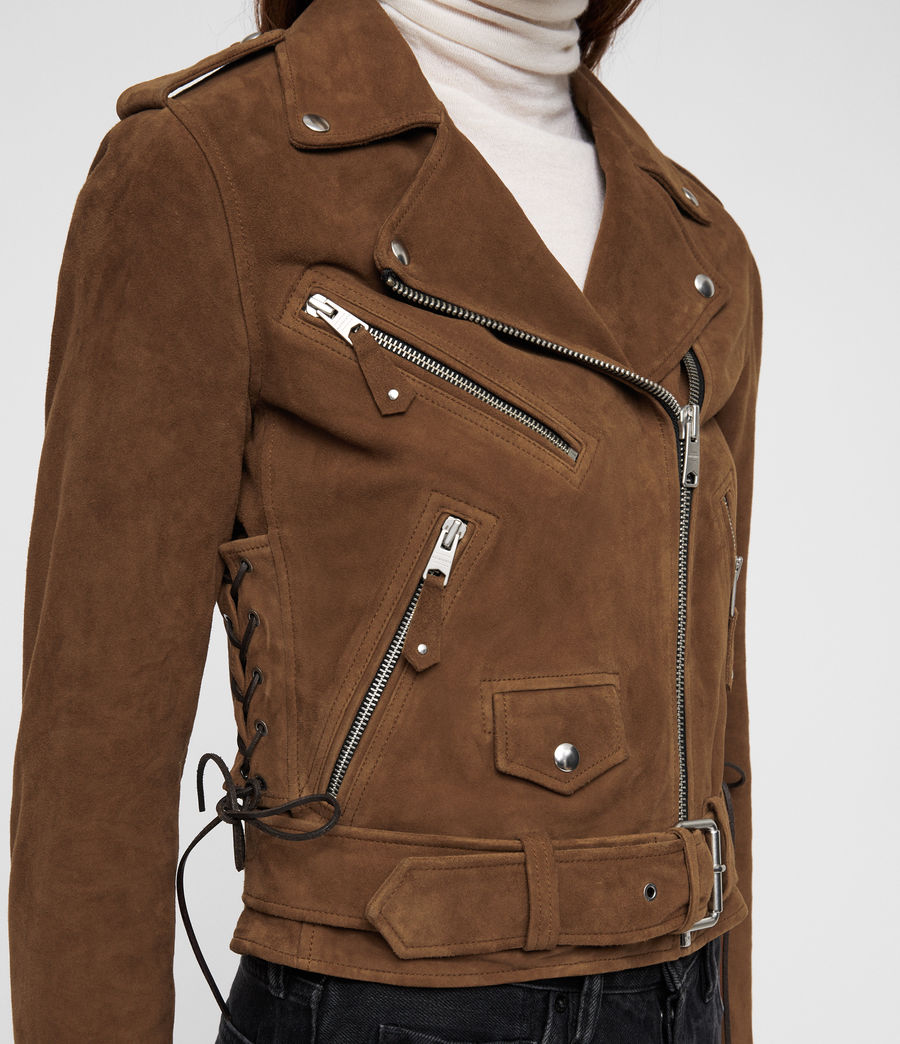 Women's Sarana Suede Biker Jacket (tan_brown) - Image 2