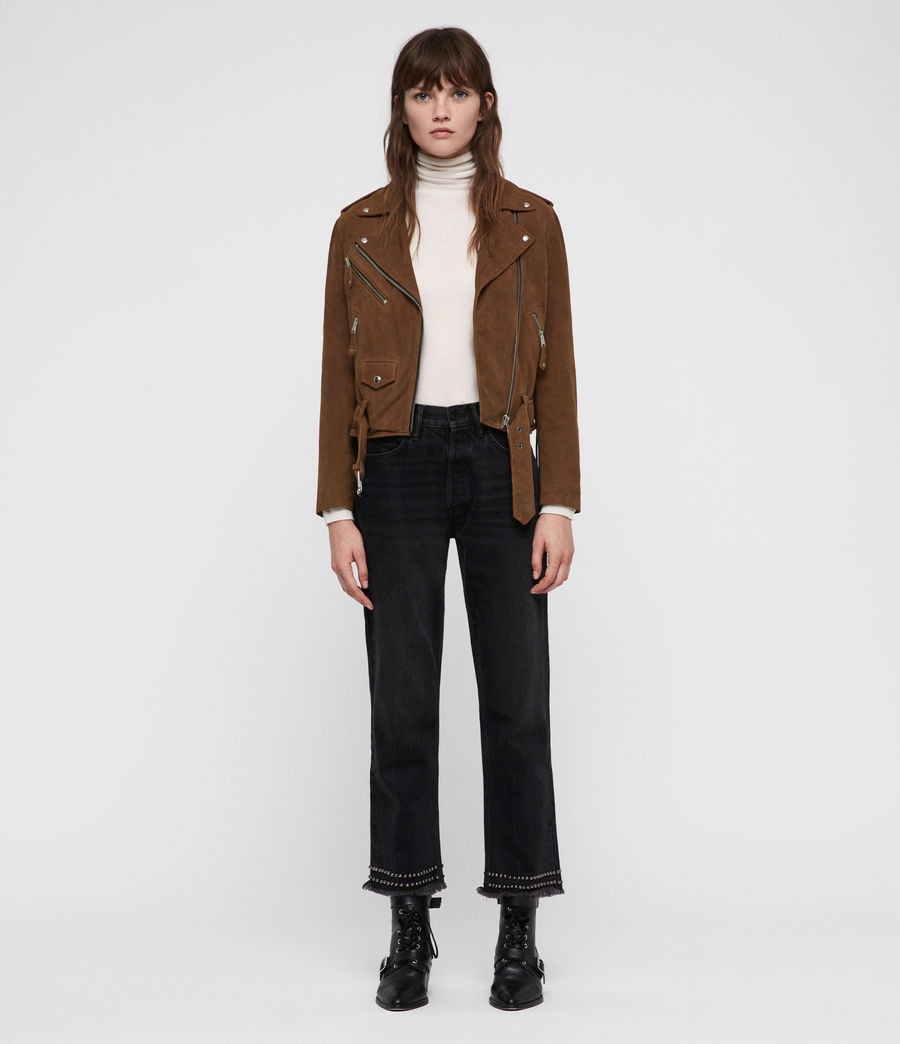 Women's Sarana Suede Biker Jacket (tan_brown) - Image 3
