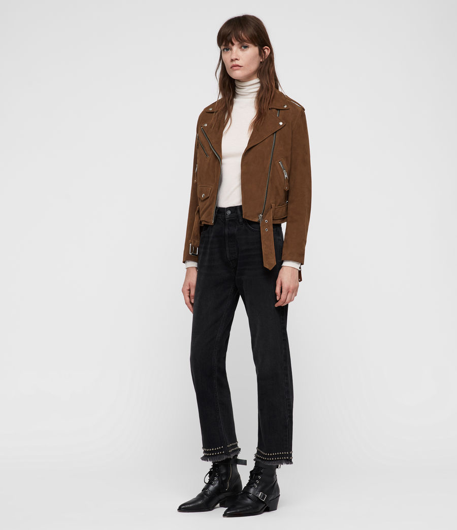 Women's Sarana Suede Biker Jacket (tan_brown) - Image 4