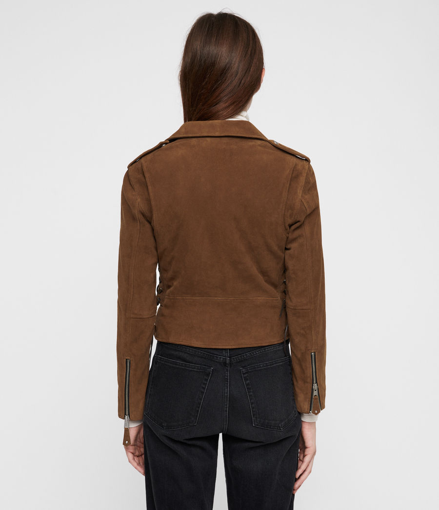 Women's Sarana Suede Biker Jacket (tan_brown) - Image 5