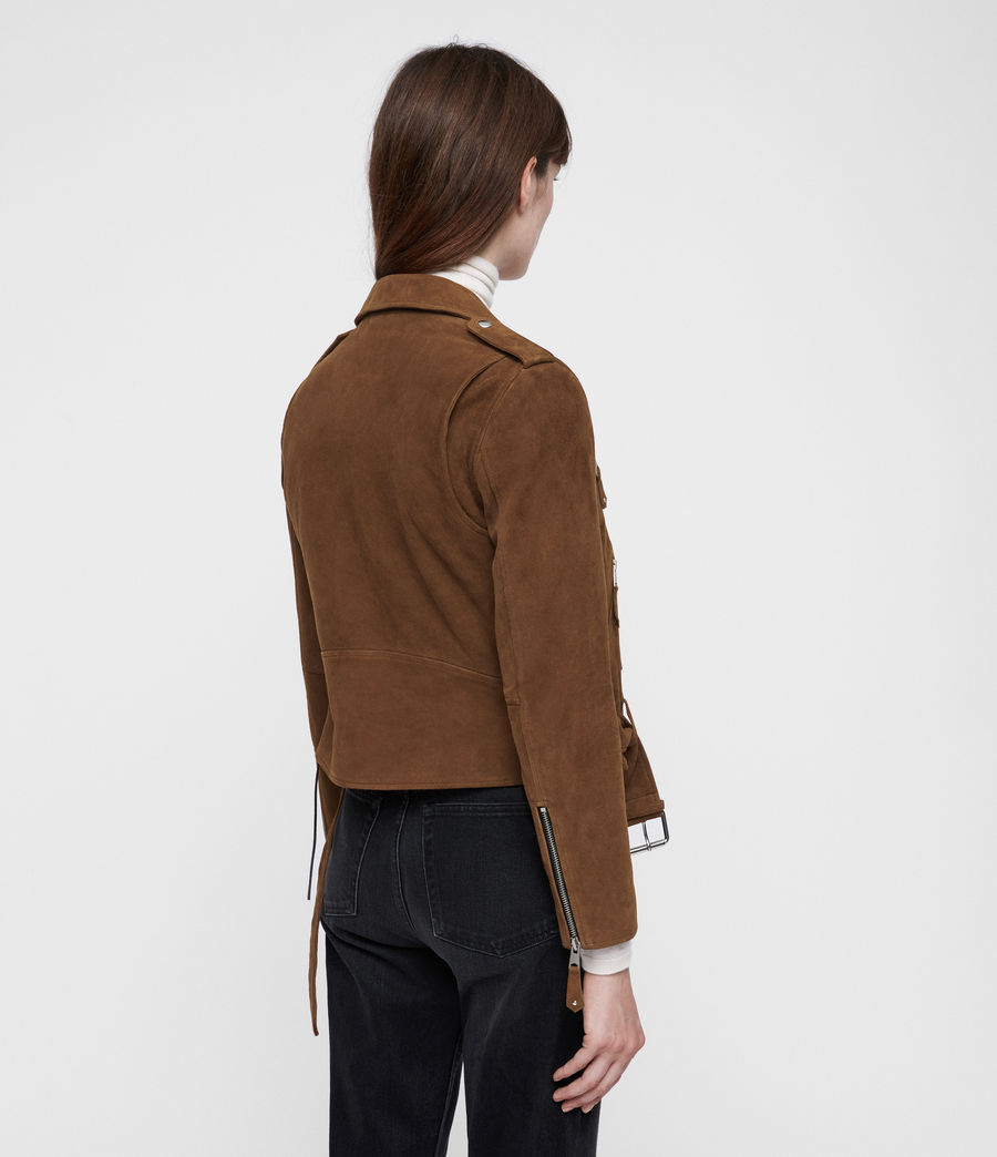 Women's Sarana Suede Biker Jacket (tan_brown) - Image 6