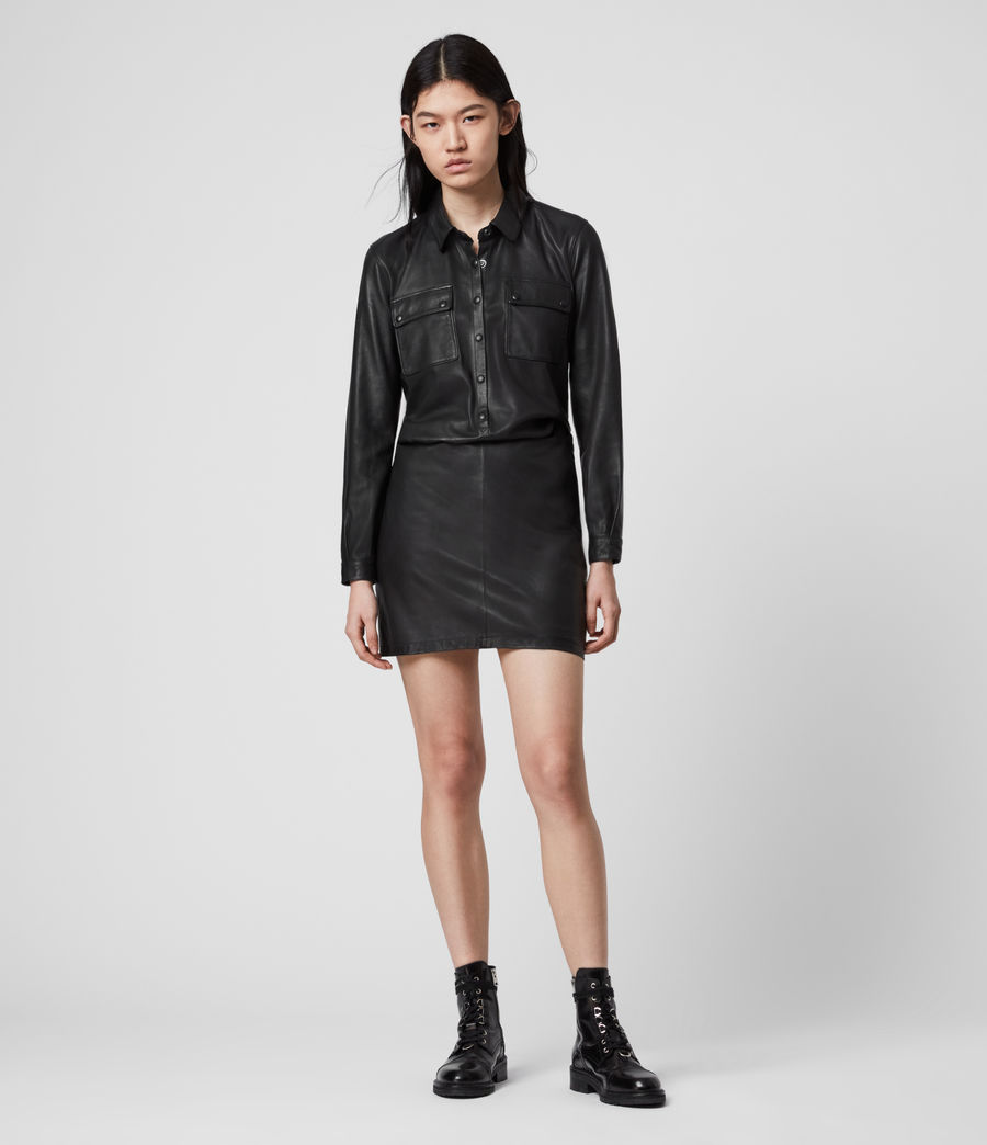 Womens Kadi Leather Dress (black) - Image 3