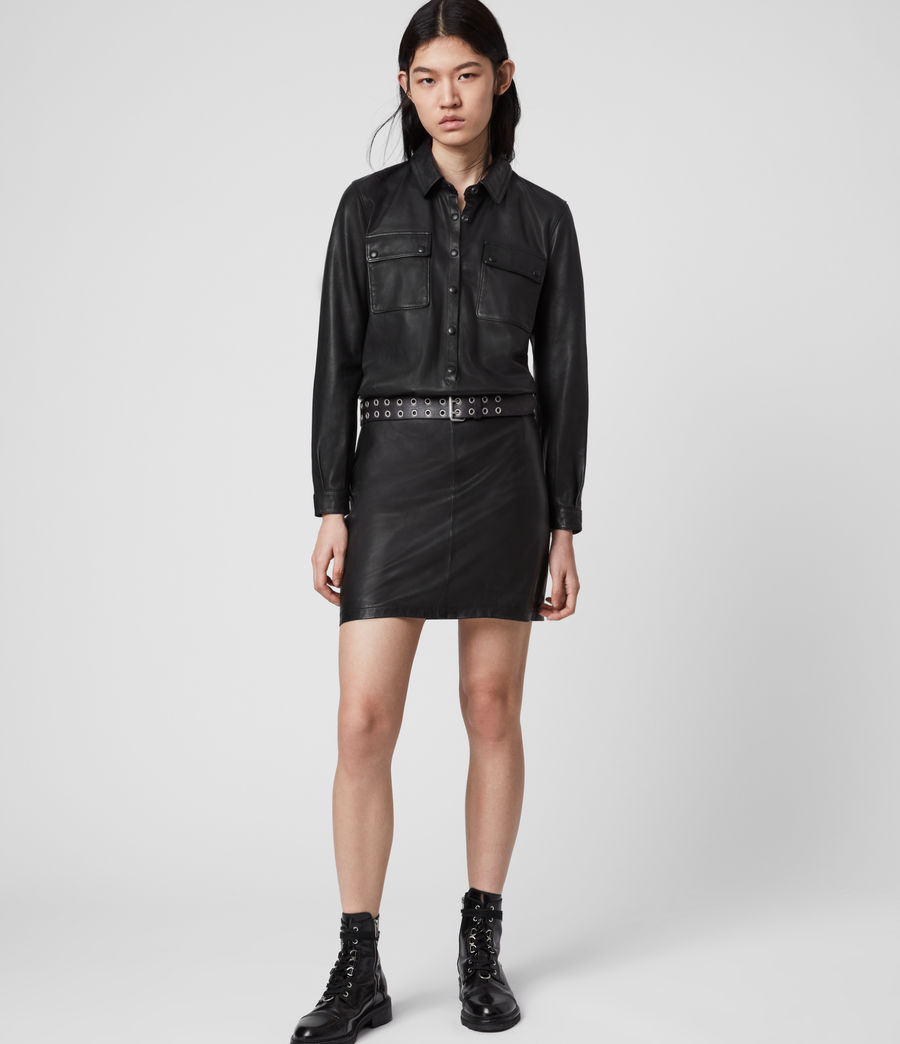 Mujer Mini Vestido de Piel Efecto 2 Piezas Kadi (black) - Image 3