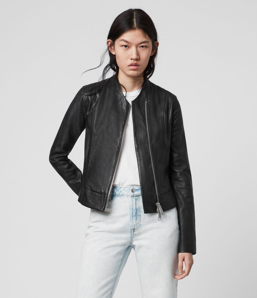 Womens Jae Leather Blazer (black) - Image 1