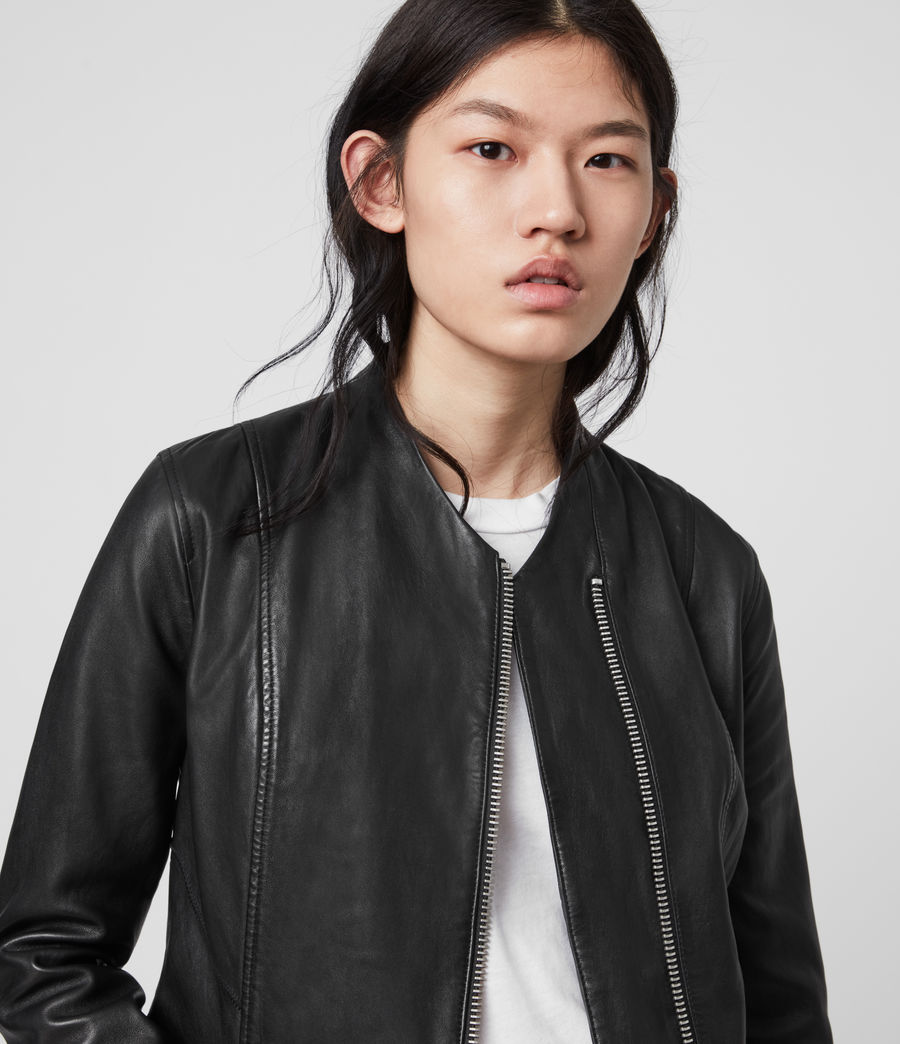 Womens Jae Leather Blazer (black) - Image 2