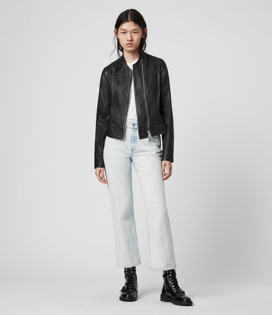 Womens Jae Leather Blazer (black) - Image 3