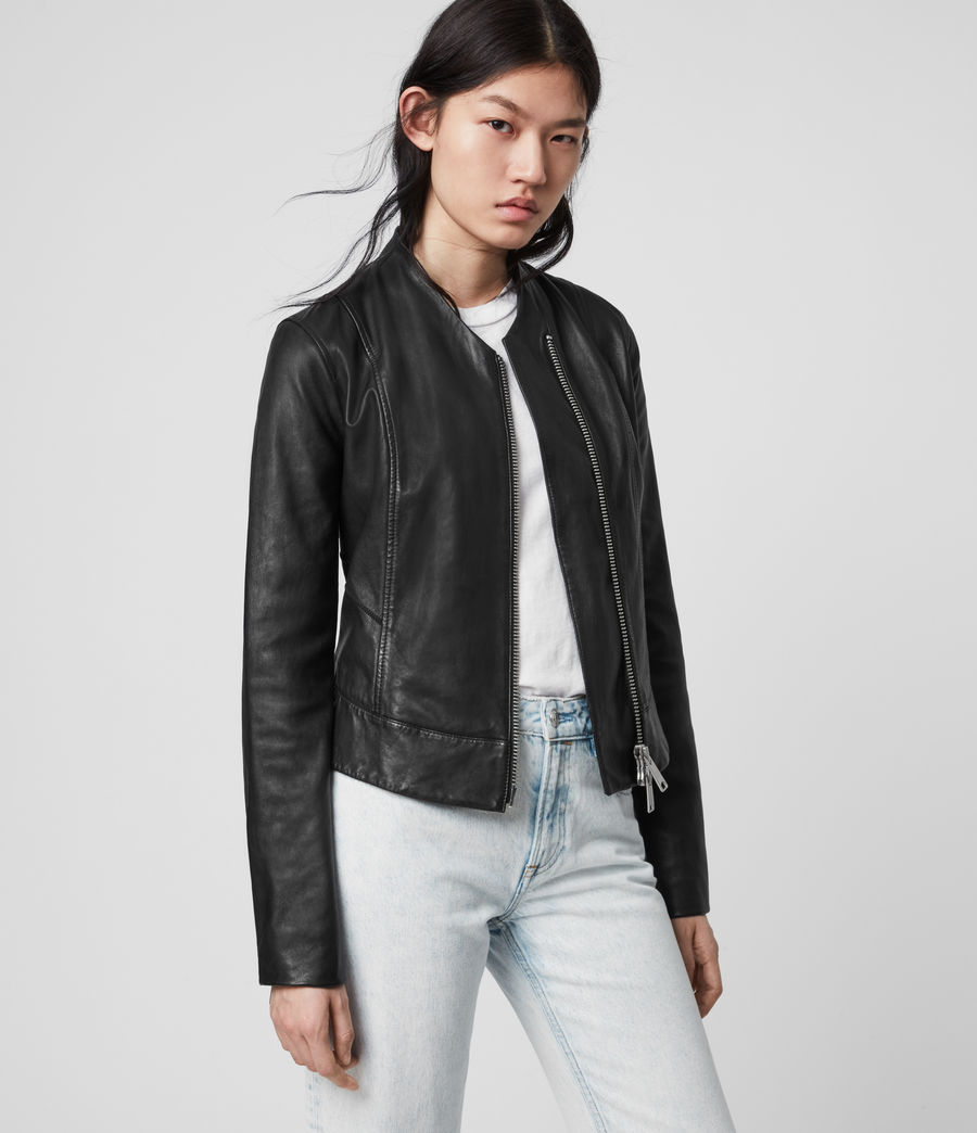 Womens Jae Leather Blazer (black) - Image 5